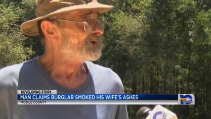 News video: Man Claims Burglar Smoked Deceased Wife's Ashes